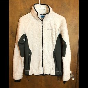 White/grey thick Columbia zip up sweaters small